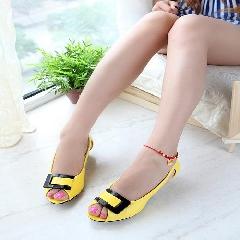 夏季新款鱼嘴鞋粗跟矮跟鞋方扣凉鞋拼色百搭甜美女鞋大码鞋L6967