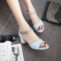 凉鞋女鞋夏中跟2017新款鱼嘴鞋粗跟一字带水钻韩版女鞋大码L6973