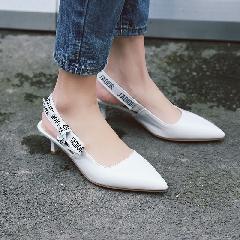 2017夏季新款包头欧美尖头凉鞋女夏细跟中空漆皮中跟鞋子女L6972