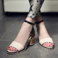 欧美夏季凉鞋一字扣女式罗马鞋中跟露趾防滑粗跟鞋女鞋大码L6969
