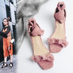 2017夏季新款露趾粗跟绑带蝴蝶结凉鞋韩版中跟百搭女鞋L6970