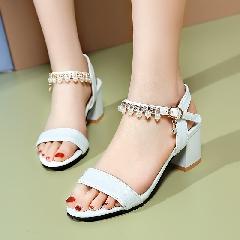 夏季新款水钻串珠中跟粗跟凉鞋夏天百搭女士女鞋大码鞋甜美L6974