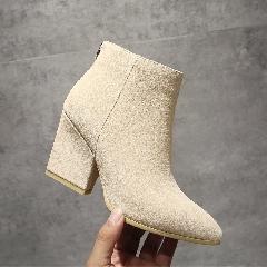 秋冬新款真皮尖头粗跟鞋牛皮高跟短靴马丁靴女靴子流苏短靴S7020