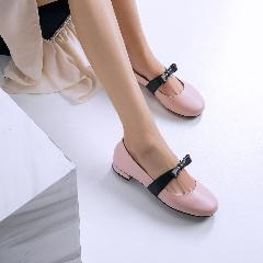 圆头浅口平底蝴蝶结芭蕾舞鞋甜美单鞋女百搭玛丽珍低帮鞋D7213