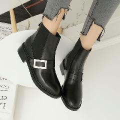 女鞋新款秋冬欧美大牌同款短靴中跟裸靴街头机车靴切尔西靴S7002