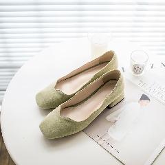 中跟单鞋女2018春季新款粗跟方头皮鞋女鞋真皮百搭鞋工作鞋D7214