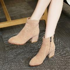秋冬新款磨砂皮牛皮真皮短靴中跟短筒靴圆头裸靴粗跟女靴子S7027