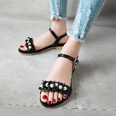 平底凉鞋女夏季新款串珠花朵甜美凉鞋平跟防滑女鞋学生凉鞋L6971
