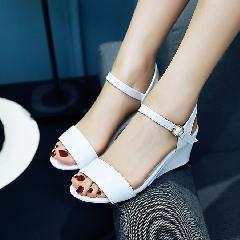 女鞋子夏季2017新款中跟韩版性感坡跟百搭鱼嘴鞋夏天凉鞋L6988