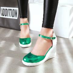 夏季新款甜美坡跟女凉鞋女包头高跟女鞋圆头厚底一字扣鞋子L6968