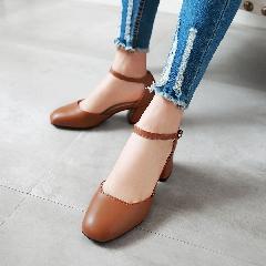夏季方头中跟粗跟气质一字扣中空女包头凉鞋工作玛丽珍鞋子L6980