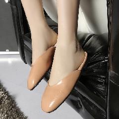 包头凉拖鞋女夏新款韩版百搭学生复古方头浅口鞋女平底鞋潮L6986