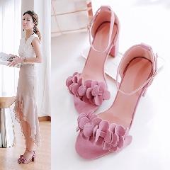 夏季新款韩版甜美花瓣凉鞋露趾粗跟高跟鞋一字扣简约凉鞋L6963