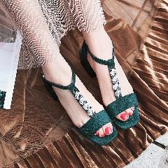 2017夏季新款丁字扣带鱼嘴鞋串珠甜美凉鞋女中跟粗跟女鞋L6978