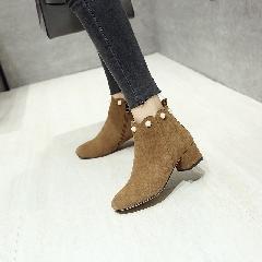 女靴方头中跟粗跟磨砂皮短靴新款女鞋子珍珠韩版真皮短筒靴S7009