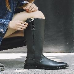 欧美秋冬靴子长筒靴2017新款真皮高筒靴平底长靴骑士靴女靴S7023