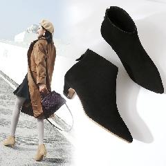 小猫跟裸靴中跟尖头及踝靴磨砂粗跟短筒拉链短靴女士马丁靴S7011