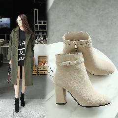 2017新款短靴秋冬加绒女靴韩版百搭马丁靴潮女鞋粗跟高跟靴S7008