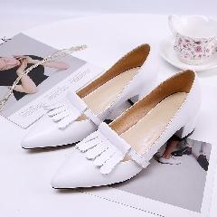 韩版尖头鞋百搭款流苏鞋粗跟鞋真皮女鞋中跟浅口单鞋女鞋子D7227