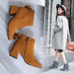 新款韩版方头短筒粗跟及裸靴秋冬真皮高跟百搭短靴流苏靴女S7024
