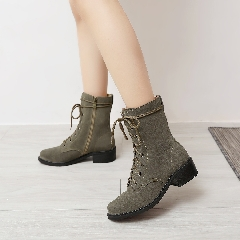 秋冬真皮厚底马丁靴女靴子复古系带短靴侧拉链英伦风女靴S7025