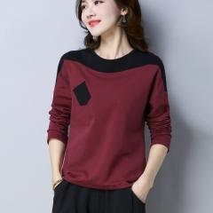K汐-巴汐 2018年秋季T恤棉时尚潮流韩版气质优雅修身纯色条纹 KXBX3654